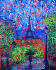 Abstract painting of the Paris with rain