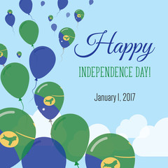 Independence Day Flat Greeting Card. Christmas Island Independence Day. Christmas Island Flag Balloons Patriotic Poster. Happy National Day Vector Illustration.
