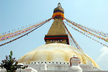 Bodnath stupa with Buddha eyes and prayer flags in Kathmandu, Nepal