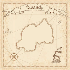 Rwanda old treasure map. Sepia engraved template of pirate map. Stylized pirate map on vintage paper.