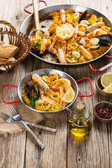 Vegetable paella with seafood.