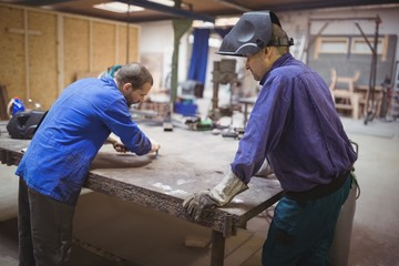 Tradesmen working together
