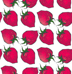 Strawberry pattern.in style sketch