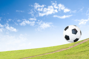 Soccer ball on grass Background blue sky