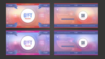 Gift voucher double side template. Discount voucher.