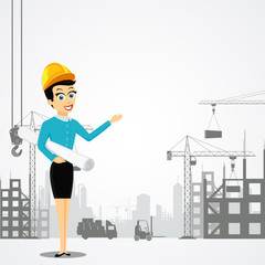 Woman engineer with the architectural project. Construction of b