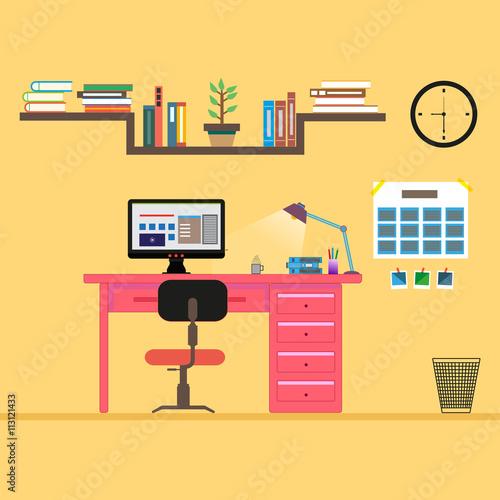 Minimalist Concept Modern Office Supplies Illustration