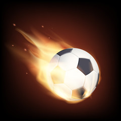 Soccer ball on fire. Isolated on a black background. Stock vecto