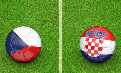 Team balls for Czech Republic vs Croatia football tournament match, 3D rendering