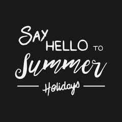 Vector enjoy summer quote. Hello Summer vector illustration. Vector hand lettering inspirational typography poster hello summer. Summer fun. Summer fun quote. Handwritten summer lettering. Summer card