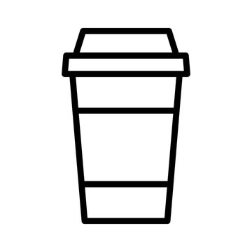 Coffee or tea in disposable paper cup line art icon for apps and websites