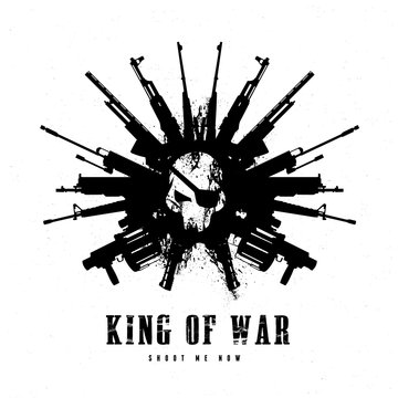 king of war, Gun and skull logo template.