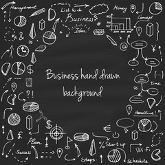 Set of vector business doodle elements. Hand drawn business icons set. Idea, business, creative thinking, progress, graphs, arrows and all other kinds of business related elements