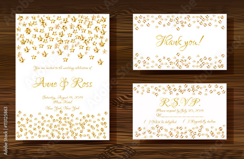 Unique vector wedding cards template with gold glitter texture unique vector wedding cards template with gold glitter texture decoration on wood texture background wedding stopboris Images