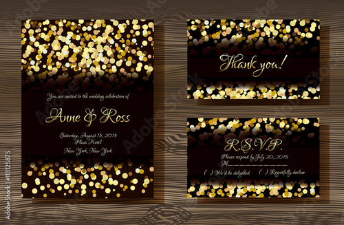 Unique vector wedding cards template with gold glitter texture unique vector wedding cards template with gold glitter texture decoration on wood texture background wedding junglespirit Choice Image