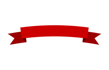 Curved red banner ribbon flat vector design for print and websites