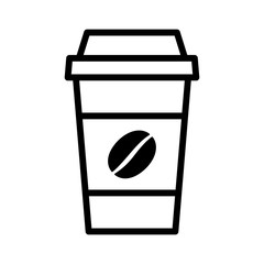 Coffee in disposable paper cup with bean line art icon for apps and websites