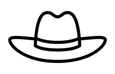 Cowboy hat or stetson hat line art icon for apps and websites