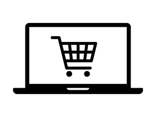 Online shopping on laptop computer flat icon for apps and websites