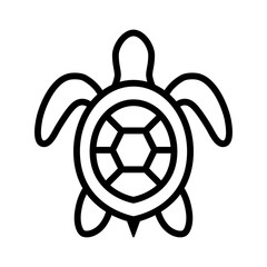 Sea turtle / marine turtle top view line art icon for nature apps and websites