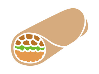 Mexican food burrito wrap with meat and rice flat color icon for apps and websites