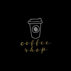 Cafe and coffee shop logo vector logo template. hand drawing logo.