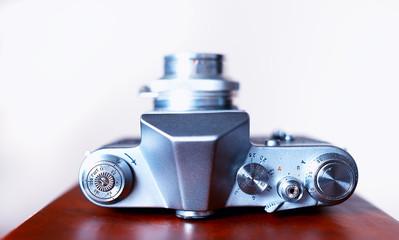 Vintage rangefinder camera view from top bokeh background