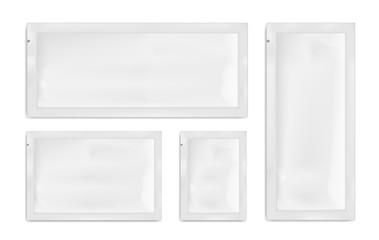 White empty plastic packaging. Blank foil or plastic sachet