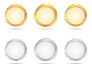 Vector Badges of Gold And Silver Seal Sets