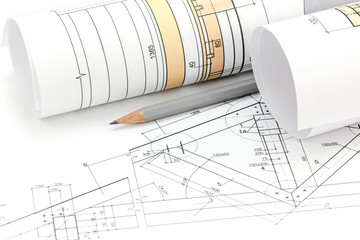 architectural project drawings, blueprint roll and house plan