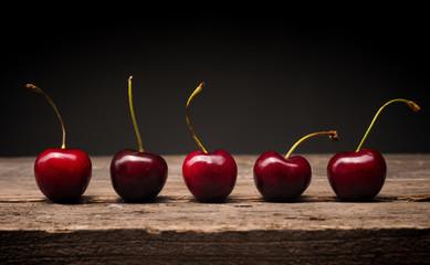 Türaufkleber Kirschblüte Five cherries in a row