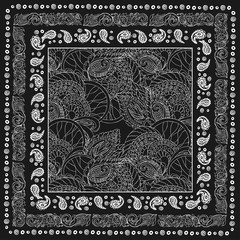 Paisley and flower. Bandana print with design for silk neck scarf.Traditional ethnic pattern. Black and white vector image.