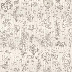 Seamless vintage underwater pattern.
