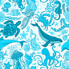 Vector blue underwater sea life boundless background.