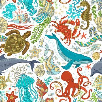 Vector seamless pattern of wild sea life.