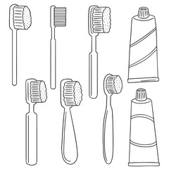 vector set of toothbrush and toothpaste