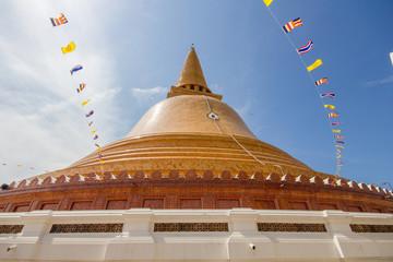 Wat Phra Pathom Chedi  blue sky in Thailand