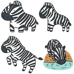 vector set of zebra