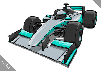funny fast cartoon formula race car vector illustration art