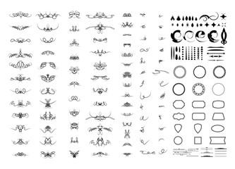 Calligraphic design elements and wicker lines in vector