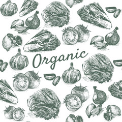 Vector vintage monochrome illustration of organic farm products in seamless background