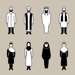 Traditional muslim people icon set