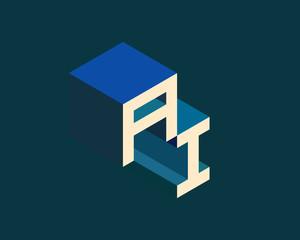 AI isometric 3D letter  logo. three-dimensional stock vector alphabet font typography design.
