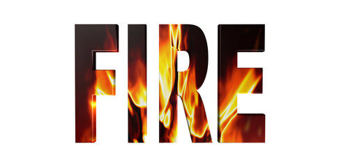3D fire text on white background