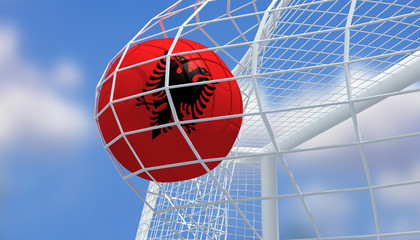 Soccer Euro 2016,Football Albania flag shooting Goal with blurred blue sky background.3D Rendering