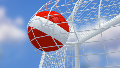 Soccer Euro 2016,Football Austria flag shooting Goal with blurred blue sky background.3D Rendering