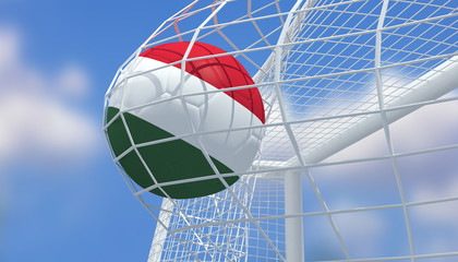 Soccer Euro 2016,Football Hungary flag shooting Goal with blurred blue sky background.3D Rendering