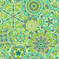 Floral background made of many mandalas. Seamless pattern. Vector illustration.