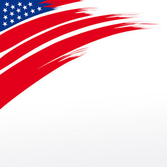 An abstract bold brush stroke illustration for United States Patriotic header design