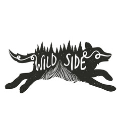 typography poster with running wolf black silhouette with mountains and pine forest